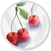 Watercolor Cherry  Round Beach Towel