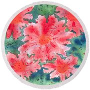 Round Beach Towel featuring the painting Watercolor Flowers by Kristen Fox