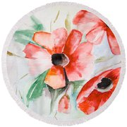 Watercolor Poppy Flower  Round Beach Towel