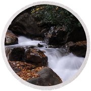 Waterfall In Fall Round Beach Towel