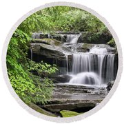 Waterfall Near Mabbitt Spring Round Beach Towel