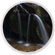 Waterfall On Emory Gap Branch Round Beach Towel