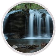 Waterfall On Flat Fork Round Beach Towel by Daniel Reed