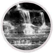 Waterfall Trio At Mcconnells Mill State Park In Black And White Round Beach Towel