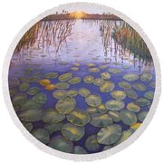 Waterlillies South Africa Round Beach Towel