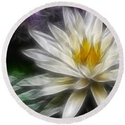 Round Beach Towel featuring the digital art Waterlily In Pseudo-fractal by Lynne Jenkins