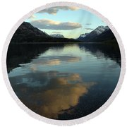 Waterton Lake Sunset Canada Round Beach Towel by Vivian Christopher
