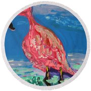 Round Beach Towel featuring the painting Wave Fisherman by Mary Carol Williams