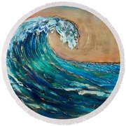 Wave To The South Round Beach Towel