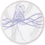 Waveflower Round Beach Towel