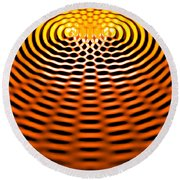 Waves Superpositioning 4 Round Beach Towel by Russell Kightley