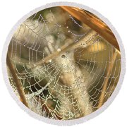 Round Beach Towel featuring the photograph Web Of Jewels by Penny Meyers