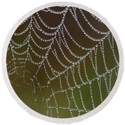 Web With Dew Round Beach Towel