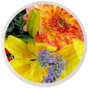 Round Beach Towel featuring the photograph Wedding Flowers by Rory Sagner