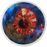 Wee Manhattan Planet - Artist Rendition Round Beach Towel by Nikki Marie Smith