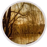 Weeping Willow And Bridge Round Beach Towel by Barbara Middleton