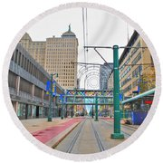 Round Beach Towel featuring the photograph Welcome To Dt Buffalo by Michael Frank Jr