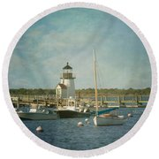 Round Beach Towel featuring the photograph Welcome To Nantucket by Kim Hojnacki