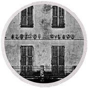 Round Beach Towel featuring the photograph Welcome To The Hotel Milano by Andy Prendy