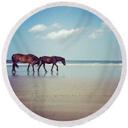 Well, This Just Happened. #wild #horses Round Beach Towel by Katie Cupcakes