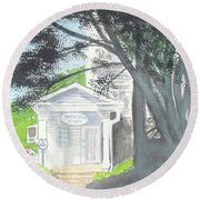Round Beach Towel featuring the painting Wellers Carriage House 1 by Yoshiko Mishina