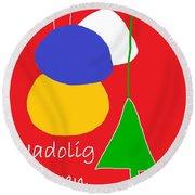 Welsh Christmas Card Round Beach Towel by Barbara Moignard