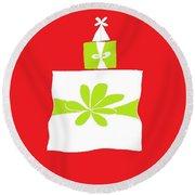 Welsh Merry Christmas Red Round Beach Towel by Barbara Moignard