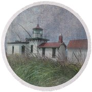 West Point Lighthouse - Seattle Round Beach Towel by Jeff Burgess
