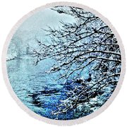 West River Snow Round Beach Towel