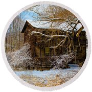 West Virginia Winter Round Beach Towel