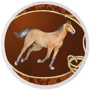 Western Roundup Running Horse Round Beach Towel