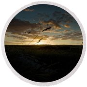 Wheat Fields  Round Beach Towel