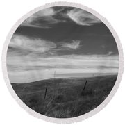 Round Beach Towel featuring the photograph Whipping Up The Hillside by Kathleen Grace