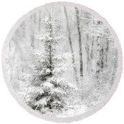 Whispers The Snow Round Beach Towel by Angie Rea