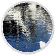 White Egret On Dock With Colorful Reflections Round Beach Towel by Anne Mott
