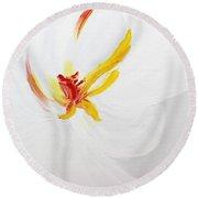 White Flower Round Beach Towel by Kume Bryant