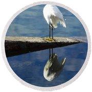 White Heron Round Beach Towel by Anne Mott