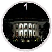 Round Beach Towel featuring the photograph White House In December by Suzanne Stout