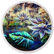 White Lotus Round Beach Towel