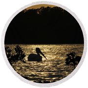 Round Beach Towel featuring the photograph White Pelican Evening by Dan Friend