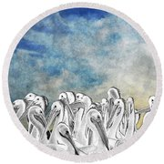 White Pelicans In Group Round Beach Towel