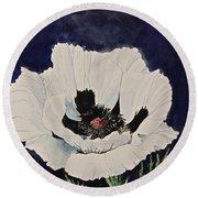 White Poppy-posthumously Presented Paintings Of Sachi Spohn  Round Beach Towel