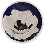 White Poppy-posthumously Presented Paintings Of Sachi Spohn  Round Beach Towel