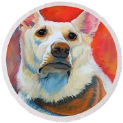 White Shepherd Round Beach Towel