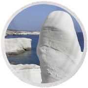 White Tuff Formations Sculpted Round Beach Towel
