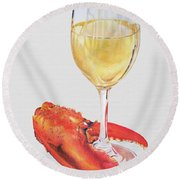 White Wine And Lobster Claw Round Beach Towel
