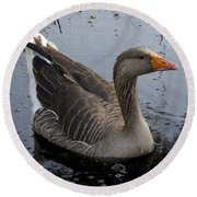 Round Beach Towel featuring the photograph Wild Greylag Goose by Lynn Palmer