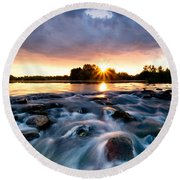 Wild River Round Beach Towel by Davorin Mance