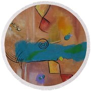 Round Beach Towel featuring the painting Wild Wild West by Judith Rhue