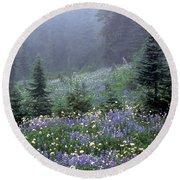 Wildflower Meadow Mt Rainier Round Beach Towel